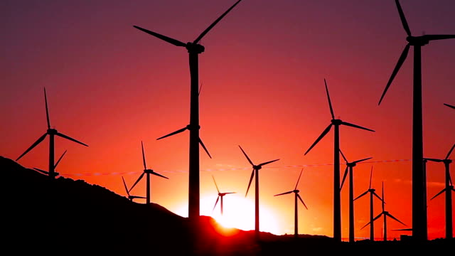 footage - wind turbines at sunset - turbina a vento video stock e b–roll