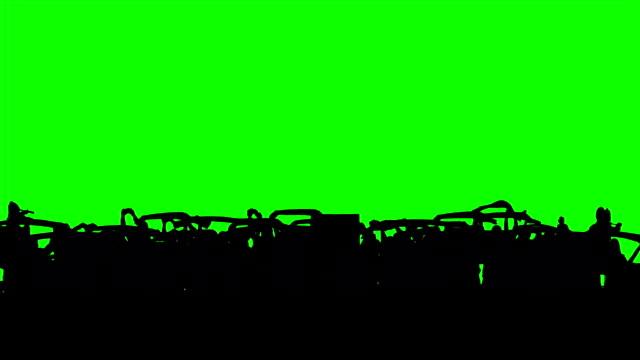 Os fãs do futebol na tela verde.  Objetivo. - vídeo