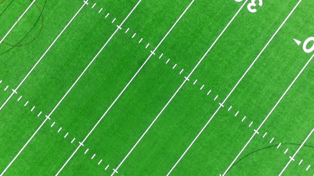 Football Field Aerial View Spinning Spinning Spinning 50 Yard Line Middle of the Field
