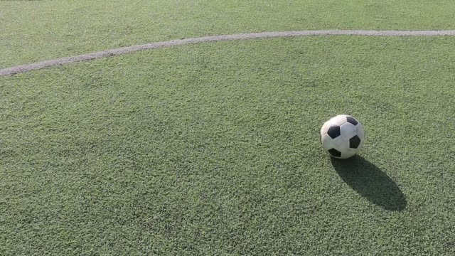 Football on artificial turf. It is for green background in a sports field video