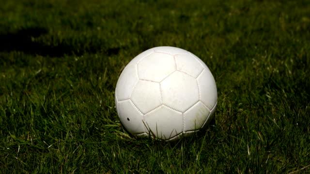 football-spieler den ball auf gras - strafstoß oder strafwurf stock-videos und b-roll-filmmaterial