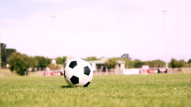 vídeos de stock, filmes e b-roll de jogador de futebol chutando a bola - futebol internacional