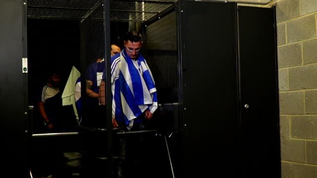 Football / Soccer fans entering Turnstiles at the Stadium video