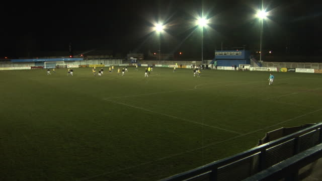 Football Soccer Ground / Stadium and floodlights at night video