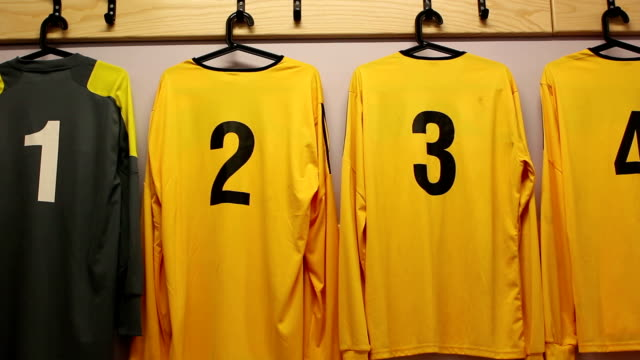 Football / Soccer kit in changing room (DOLLY) close video