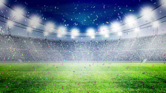 Football stadium lights and confetti Celebrate Electric Lamp, Stadium, Soccer, Confetti, Soccer Ball, Football, Congratulation , Winner, Champion, Celebrate match sport stock videos & royalty-free footage