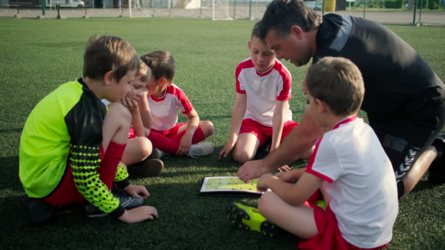 Football team of little boys and trainer are discussing a tactic - video