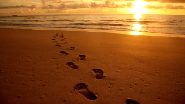 Footprints in the sand at beach, sunset