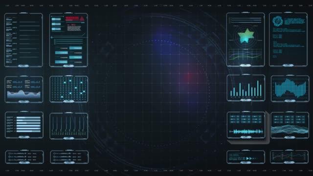 vídeos de stock, filmes e b-roll de hud ui/ux para jogos, design de movimento,. interface de usuário futurista hud e elementos infográficos. interface de usuário de toque gráfico virtual abstrato. monitor de tela de interface infográfica de ui hud. alta tecnologia, 4k - holograma