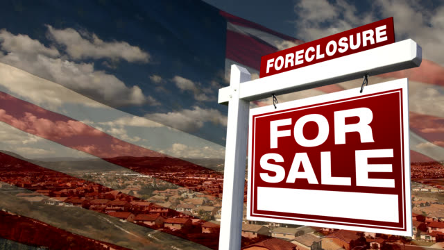 Foreclosure For Sale Real Estate Sign with Flag and Homes video