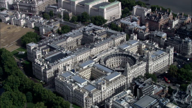 Foreign Office  - Aerial View - England, Greater London, City of Westminster, United Kingdom Foreign Office and Treasury with Min. of Defence in b/g treasury stock videos & royalty-free footage