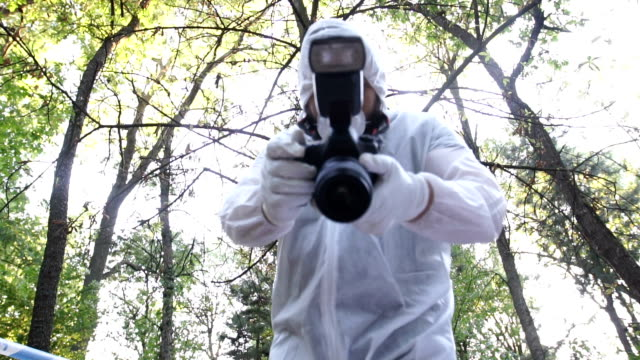 Forensics man working One man, crime scene investigation,forensics doing their job, taking photographs in the forest. crime scene stock videos & royalty-free footage