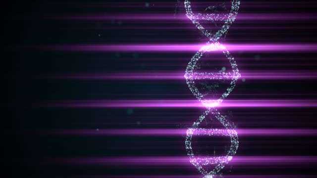 DNA forensics research. Evidence 3d animation of dna spiral as essential instrument in crime investigation.