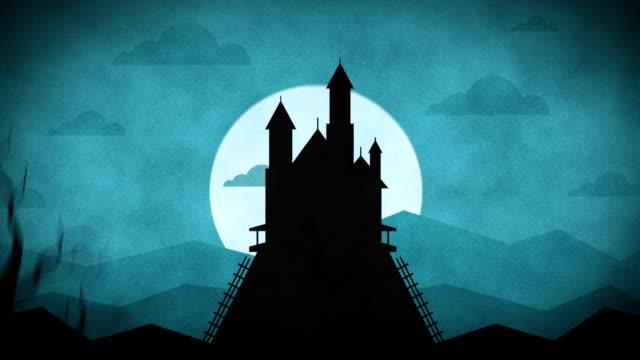 バットの森山城 - ハロウィーン点の映像素材/bロール