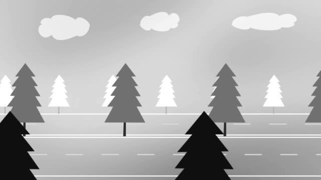 forest reisen (endlos wiederholbar) - drive illustration stock-videos und b-roll-filmmaterial