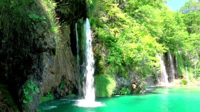 forest waterfalls. uhd - национальный парк плитвицкие озёра стоковые видео и кадры b-roll