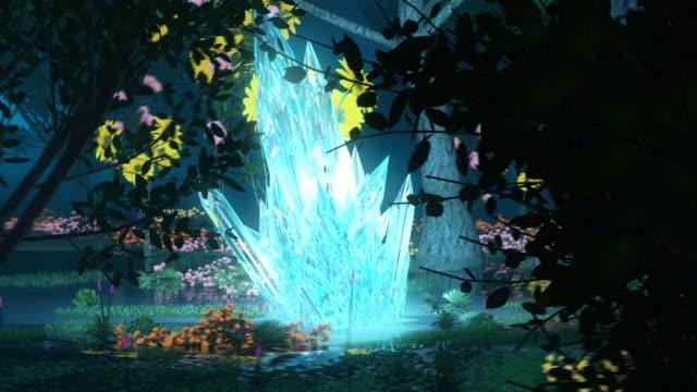 Forest wonderland animation. Surrounding glowing crystal