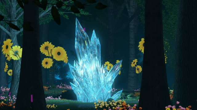 forest wonderland animation. surrounding glowing crystal - sfondo multicolore video stock e b–roll