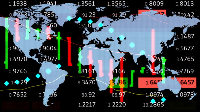 forex stock market chart ticker board and holographic earth map on background - new quality financial business animated dynamic motion video footage