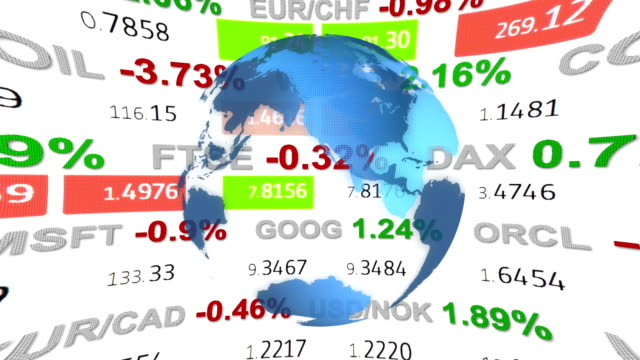 forex stock market ticker board tape news and hud holographic earth globe on black background - new quality financial business animated dynamic motion video footage