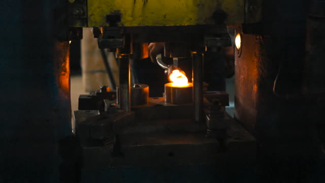 Forging steel machine inside industrial plant. Forging steel machine inside industrial plant. blacksmith shop stock videos & royalty-free footage