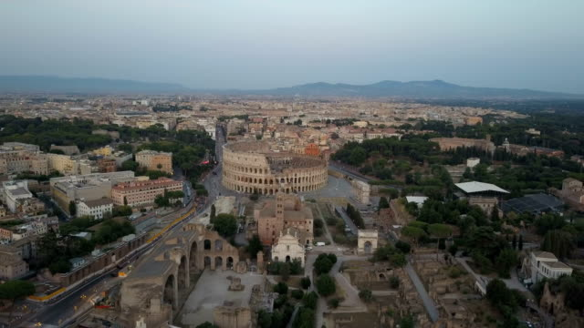 Fori Imperiali Center Of Rome Aerial View Early Morning Late Afternoon video