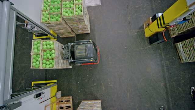 CS Forklift carrying stacks of wooden crates with fresh produce out of the warehouse hallway Wide crane shot of the warehouse door opening and a forklift carrying a stack of wooden crates with fresh produce out of the large hallway in the warehouse. Shot in Slovenia. forklift stock videos & royalty-free footage