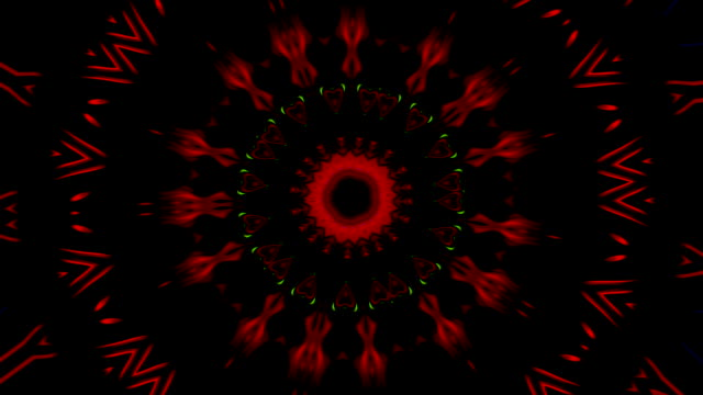form of mandala spinning and changing shapes and video with shapes of stars and angles that open in the figures formed with kaleidoscope with movement in  red green and black - мандала стоковые видео и кадры b-roll