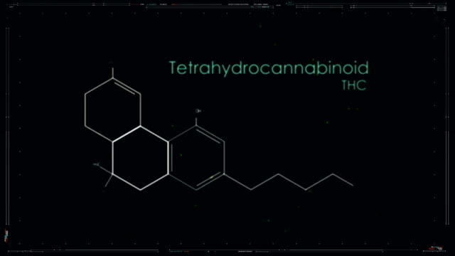 THC Formula of cannabis component. Medical Research THC Formula of cannabis component. Medical Research marijuana herbal cannabis stock videos & royalty-free footage