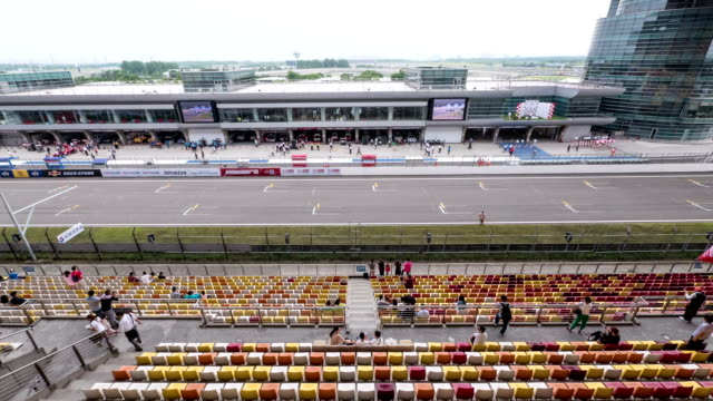 formula one racing in car race venue of shanghai, time lapse. video