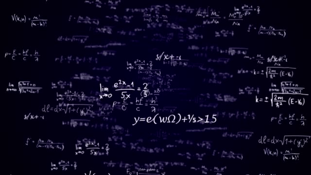 MATHEMATIC Formulas Numbers Animation, Background, Rendering, Loop, with Alpha Channel
