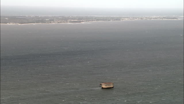Fort Boyard  - Aerial View - Poitou-Charentes, France Old fort on the end of Ile d'Aix fort stock videos & royalty-free footage