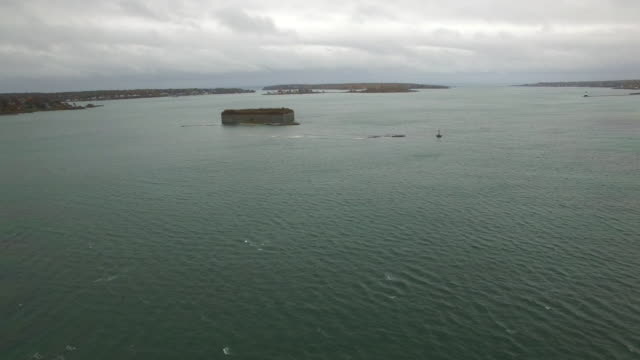 Fort Gorges Aerial clip of Fort Gorges Portland fort stock videos & royalty-free footage