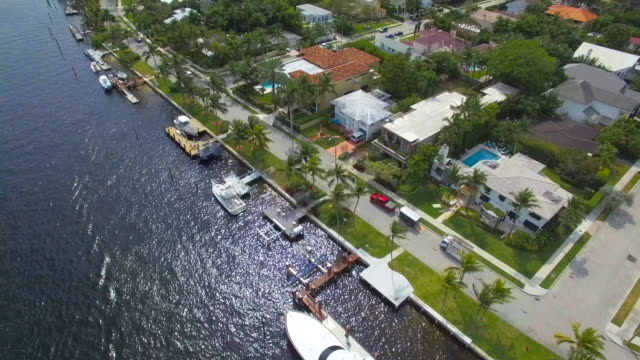 Fort Lauderdale Mansions -New River Sound-4K-Aerial shot 10 Fort Lauderdale' s Venice of America and it's magnificent inland waterways. The famous Millionaire's Row which stretches from Tarpon Bend all the way out to the Intracoastal Waterway south stock videos & royalty-free footage