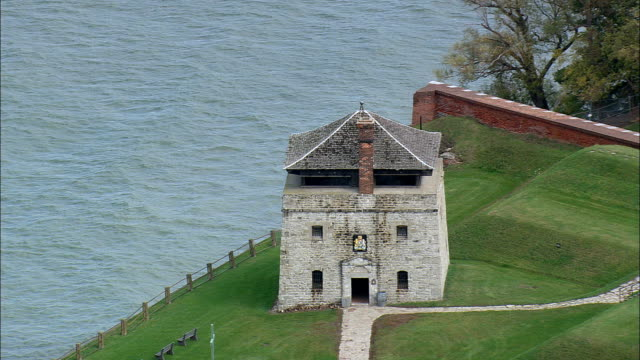 fort Niagara - Aerial View - New York,  Niagara County,  United States This clip was filmed by Skyworks on HDCAM SR 4:4:4 using the Cineflex gimbal. New York,  Niagara County,   United States fort stock videos & royalty-free footage