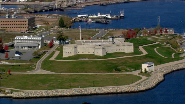 Fort Trumbull  - Aerial View - Connecticut,  United States This clip was filmed by Skyworks on HDCAM SR 4:4:4 using the Cineflex gimbal. Connecticut,   United States fort stock videos & royalty-free footage