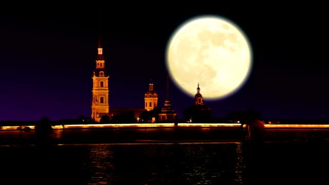 fortress at night and big moon - peter the apostle bildbanksvideor och videomaterial från bakom kulisserna