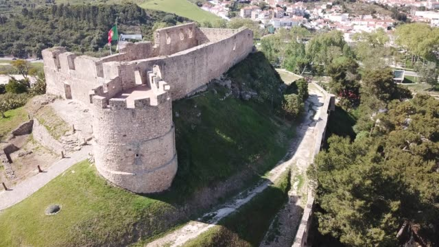 fortress in  Portuguese town Torres Vedras Aerial view of fortress in small Portuguese town Torres Vedras sorpresa stock videos & royalty-free footage