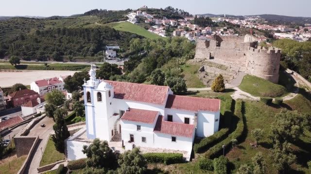 fortress in small Portuguese town Torres Vedras Aerial view of fortress in small Portuguese town Torres Vedras sorpresa stock videos & royalty-free footage