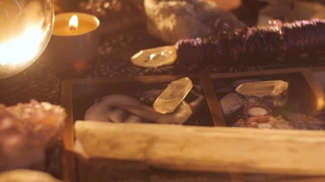 Fortune teller psychic medium tarot card table reading setup video