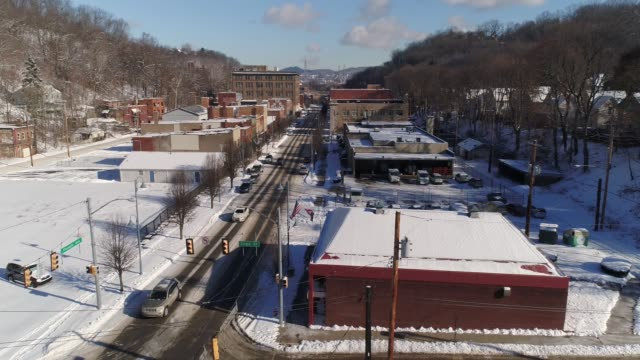Forward Aerial Establishing Shot Small Town Business District in Winter video