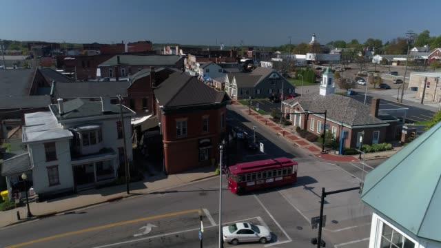 Forward Dolly Aerial Establishing Shot of Small Town Salem Ohio USA video