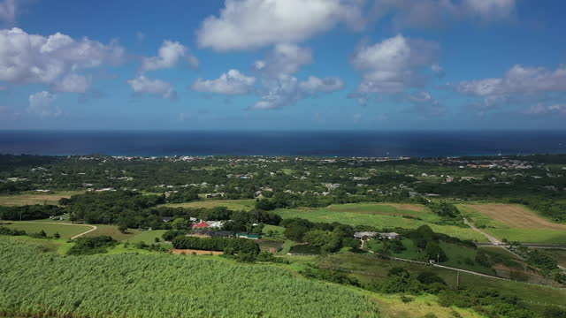 Forward drone shot over the north west countryside of Barbados video