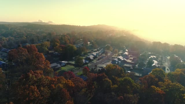 Forward Morning Aerial Establishing Shot Typical Pennsylvania Neighborhood