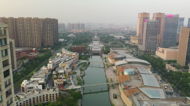 foshan city sunset time downtown river aerial panorama 4k china