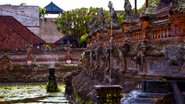 SLO MO Fountain And Pond At Hindu Temple in Bali