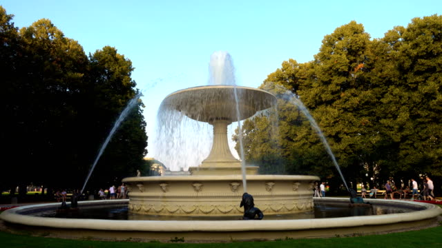 fountain at the saxon garden at warsaw - fountains stock videos & royalty-free footage