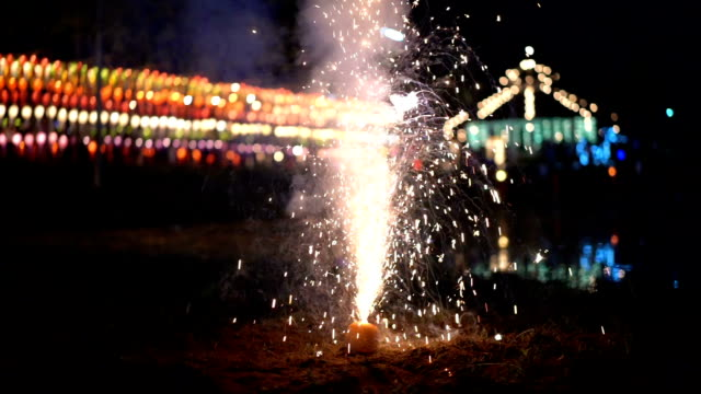 SLO MO Fountain Firework Shooting Sparks video