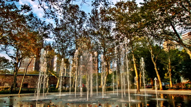 Fountain in Battery park New York video
