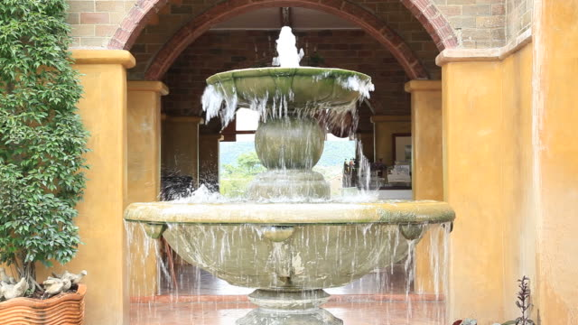 Fountain in Italian Style garden for wellness background video